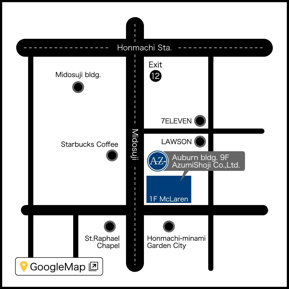 地図 : 本町オフィス